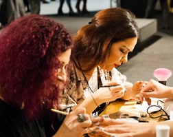 Hyder AK nail tech students in training
